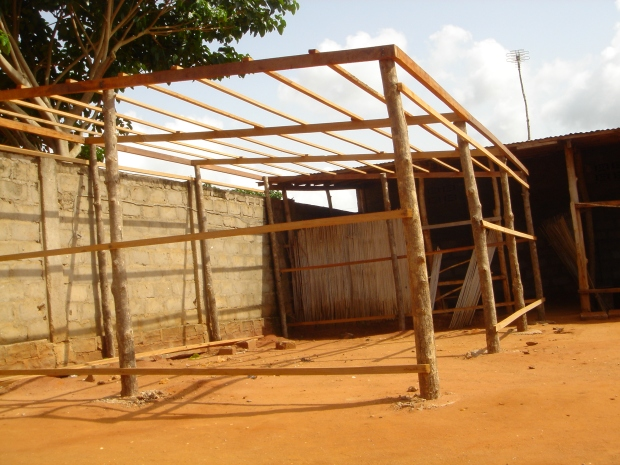 The framework for a shelter. The roof of this one will be a removable tarp.