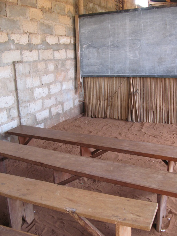 The inside of a West African Sunday school classrom.