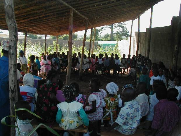 Children attending Sunday school in the first shelter we built, Cote d'Ivoire 2002