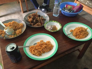 Chicken and rice, served to us at a pastor's home in Lome, Togo. I was thankful there was no fish this time!