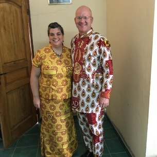 Phil is wearing an outfit made from Togo A/G Youth Ministries Fabric. Robin's is made from the A/G Women's Ministries of Burkina Faso