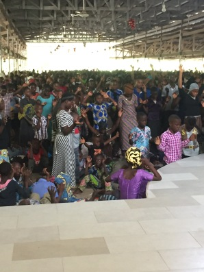 Children praying at the end of the morning chapel.