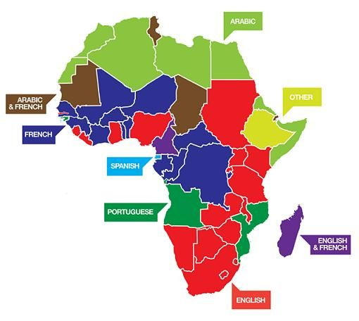 Official Languages of Africa: The map is a bit oversimplified as many countries have multiple official languages.